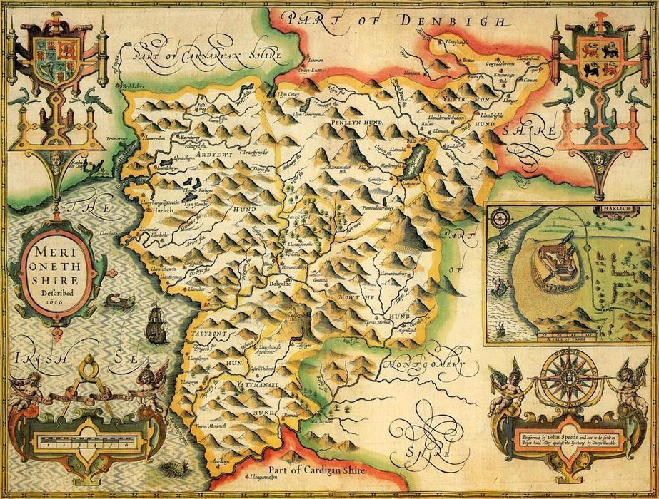 Merionethshire Historical Map 1000 Piece Jigsaw Puzzle (1610) - All Jigsaw Puzzles