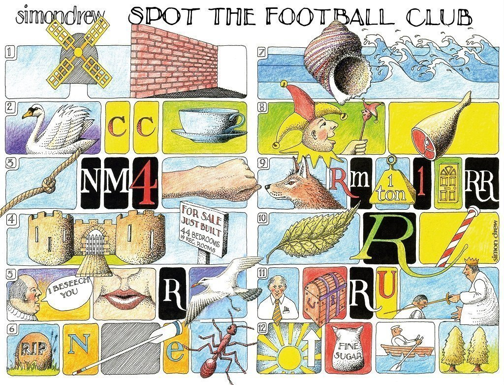 Spot the Football Club - Simon Drew - 1000 or 500 piece Jigsaw - All Jigsaw Puzzles