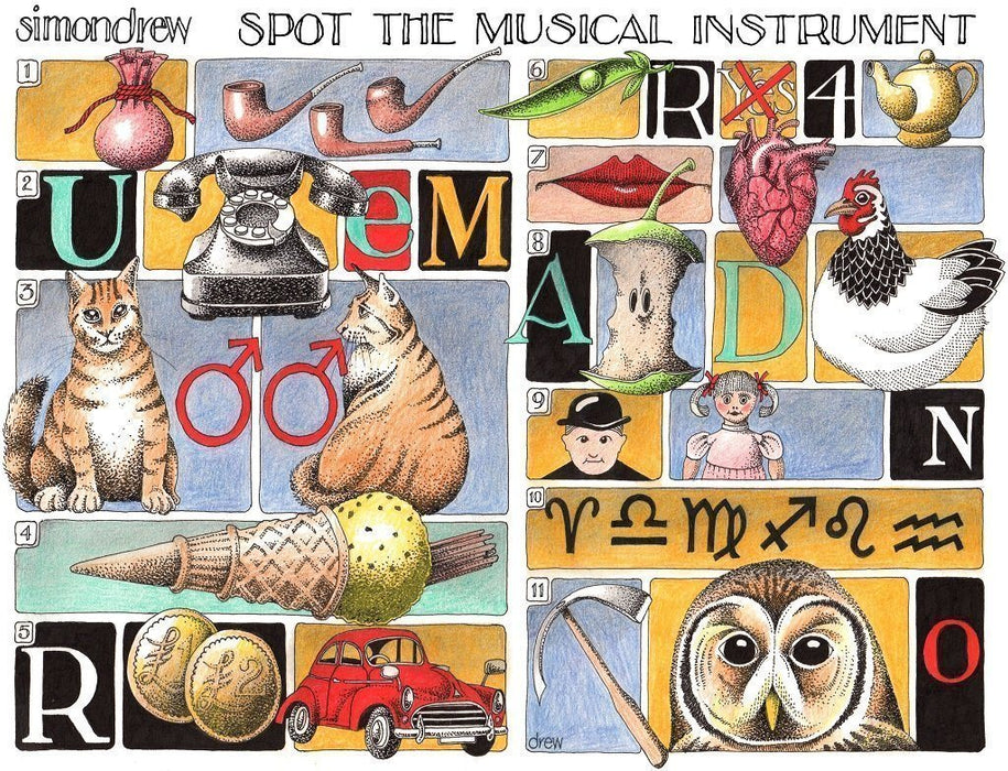 Spot the Musical Instrument - Simon Drew - 1000 or 500 piece Jigsaw - All Jigsaw Puzzles