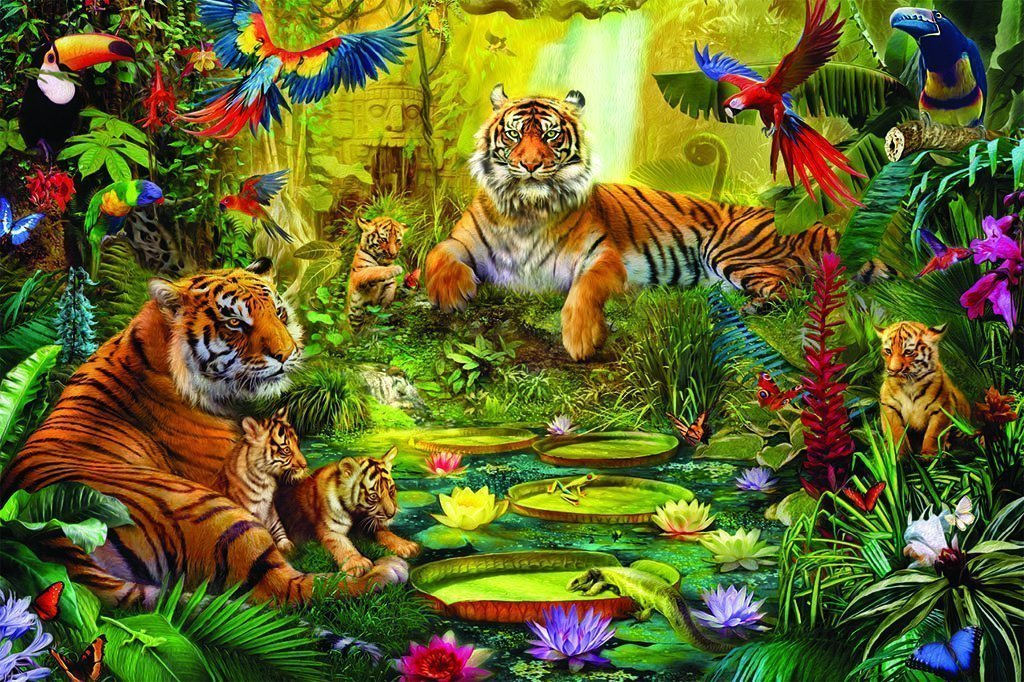 Tiger Family in the Jungle 1500 Piece Jigsaw Puzzle - All Jigsaw Puzzles