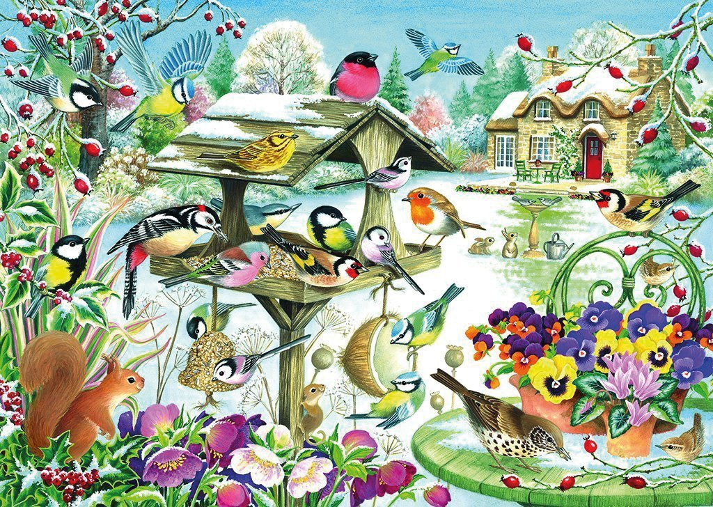 Winter Garden Birds 500 Piece Jigsaw Puzzle - All Jigsaw Puzzles