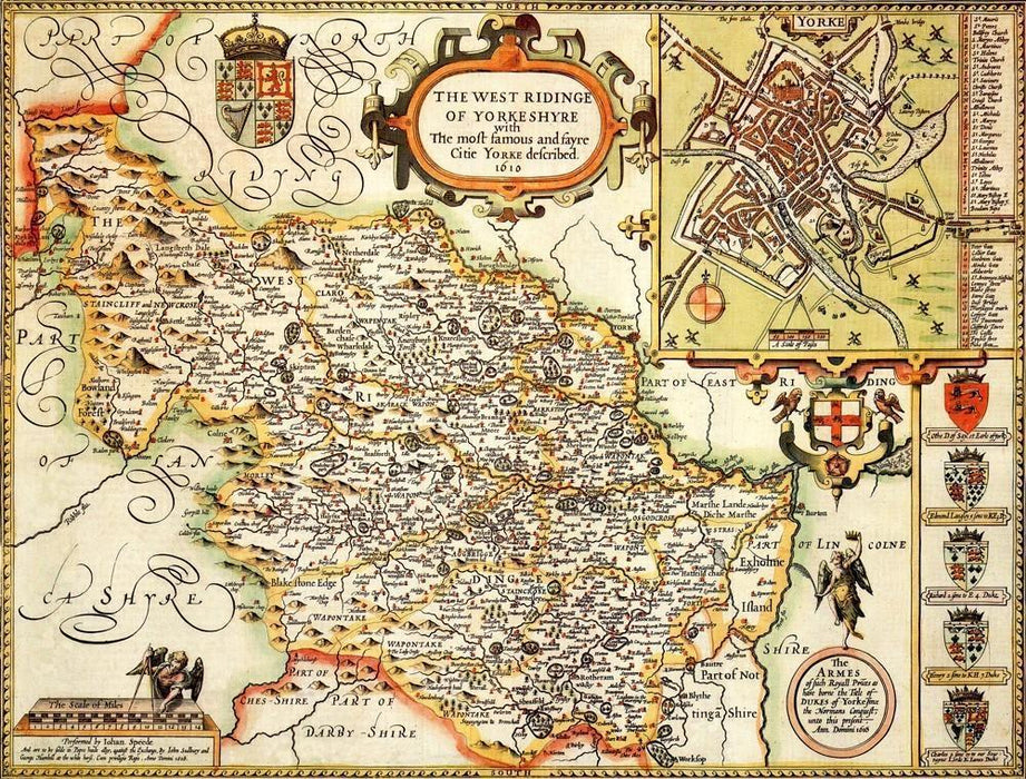 Yorkshire West Riding Historical Map 1000 Piece Jigsaw Puzzle (1610) - All Jigsaw Puzzles