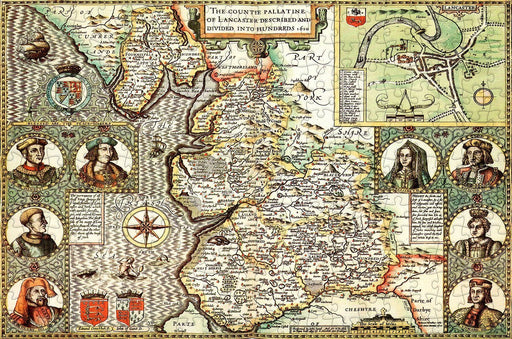 Lancashire 1610 Historical Map 300 Piece Wooden Jigsaw Puzzle - All Jigsaw Puzzles