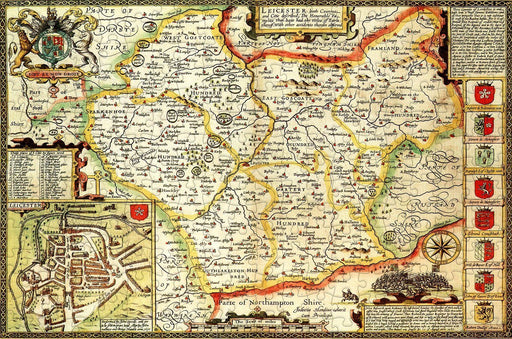 Leicestershire 1610 Historical Map 300 Piece Wooden Jigsaw Puzzle - All Jigsaw Puzzles
