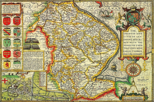 Lincolnshire 1610 Historical Map 300 Piece Wooden Jigsaw Puzzle - All Jigsaw Puzzles