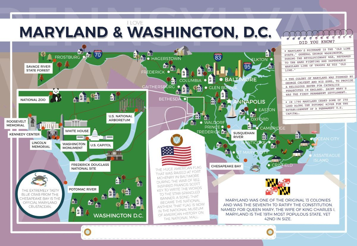 Maryland and Washington D.C. - I Love My State 400 Piece Personalized Jigsaw Puzzle - All Jigsaw Puzzles