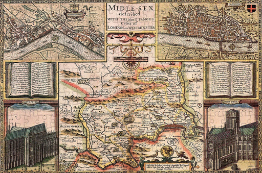 Middlesex 1610 Historical Map 300 Piece Wooden Jigsaw Puzzle - All Jigsaw Puzzles