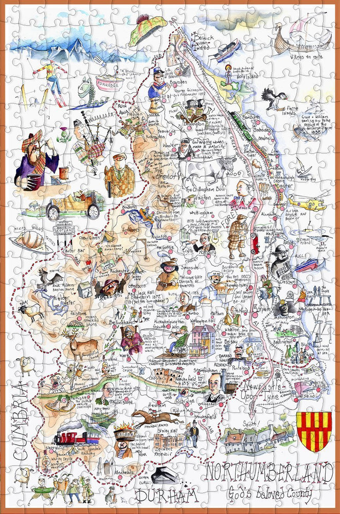 Map of Northumberland - Tim Bulmer - 300 Piece Wooden Jigsaw Puzzle - All Jigsaw Puzzles