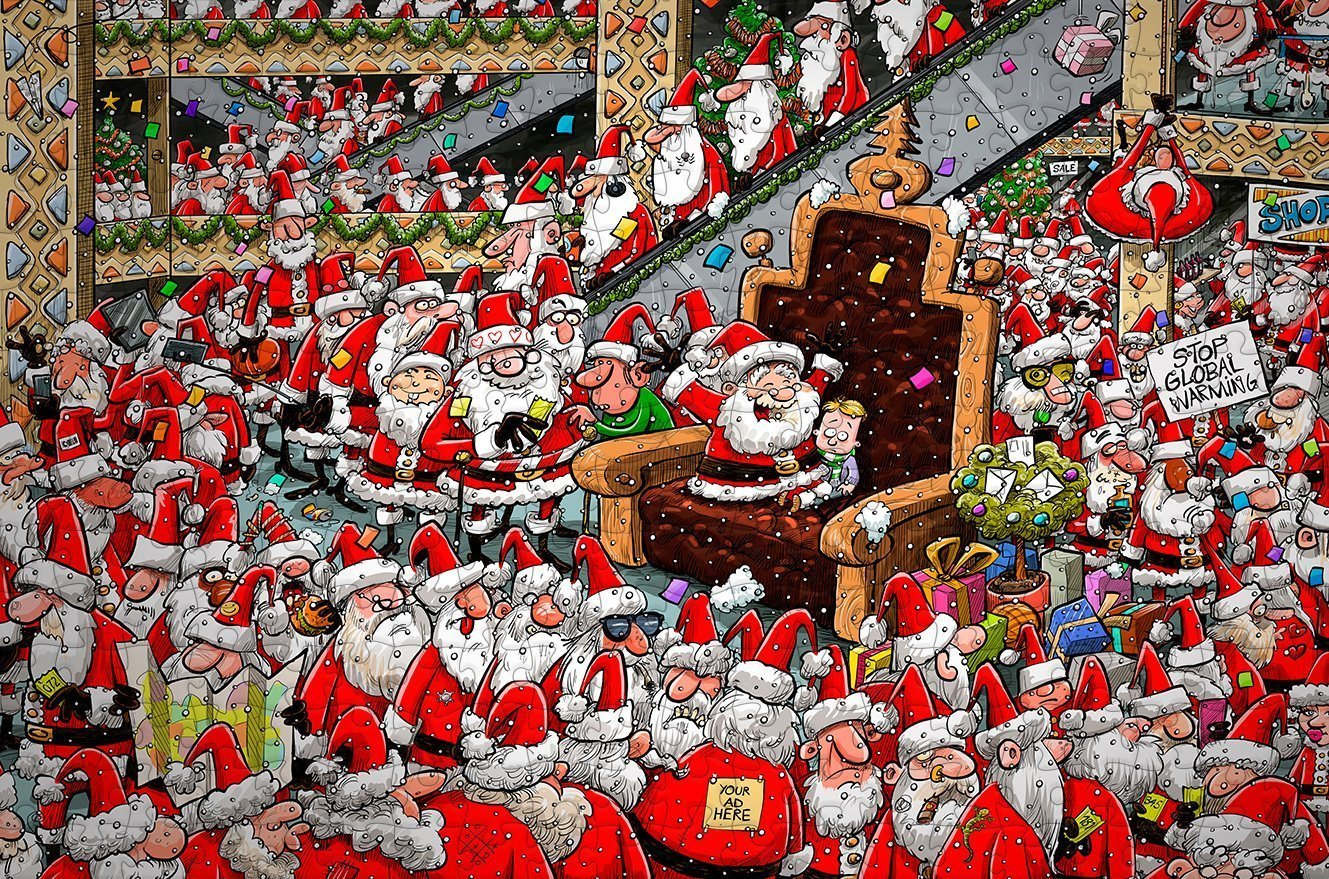 Chaos at Santa's Grotto 300 Piece Wooden Jigsaw Puzzle - All Jigsaw Puzzles