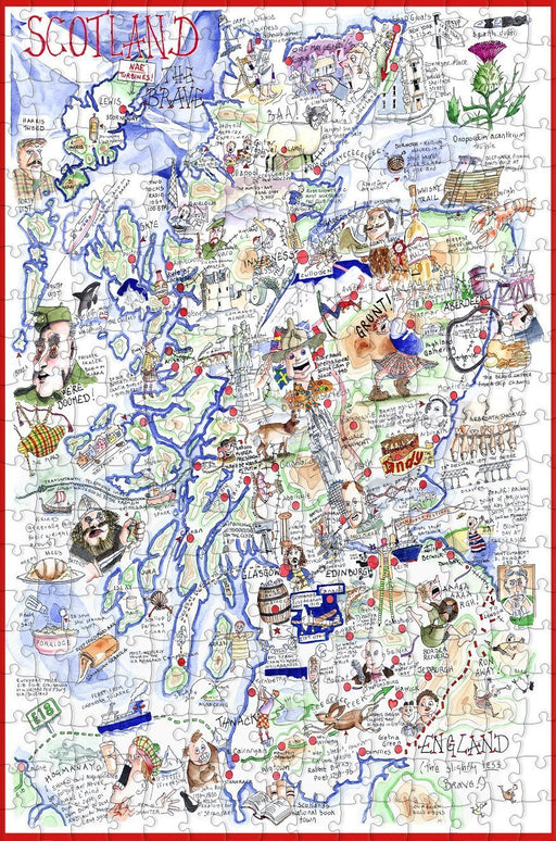 Map of Scotland - Tim Bulmer - 300 Piece Wooden Jigsaw Puzzle - All Jigsaw Puzzles