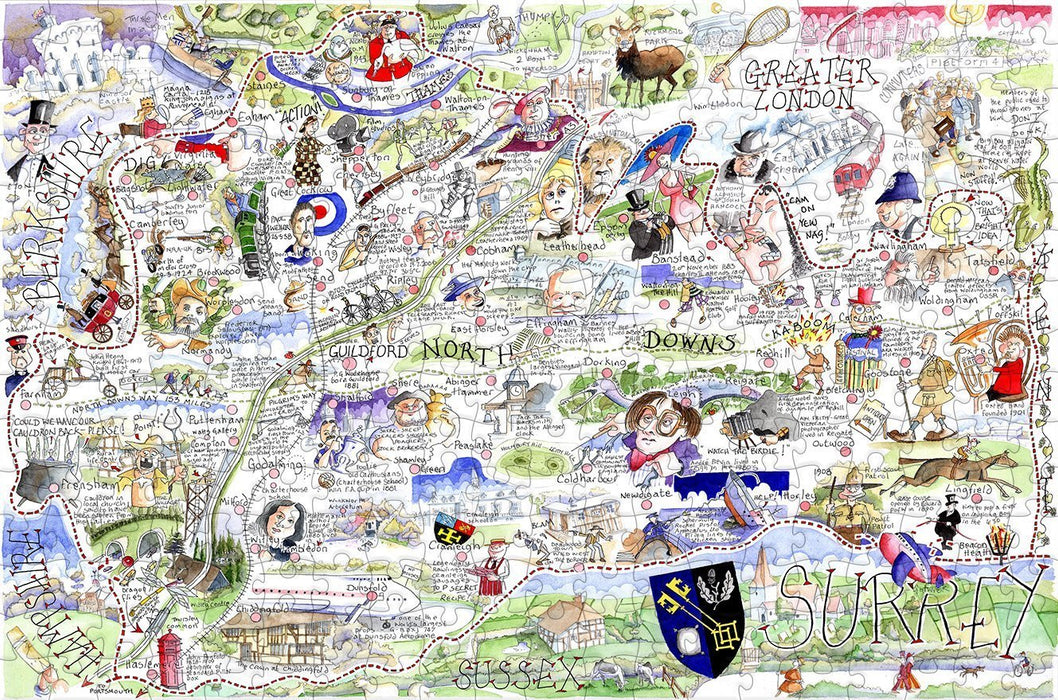 Map of Surrey - Tim Bulmer - 300 Piece Wooden Jigsaw Puzzle - All Jigsaw Puzzles