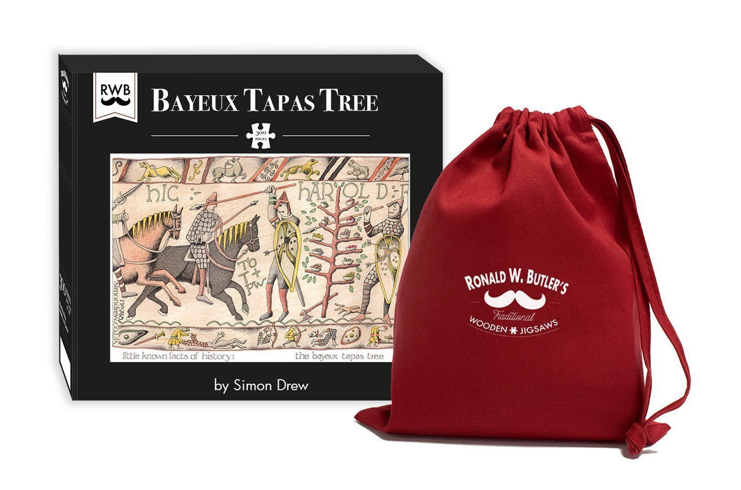 Bayeux Tapas Tree - Simon Drew Designs - 300 Piece Wooden Jigsaw Puzzle - All Jigsaw Puzzles