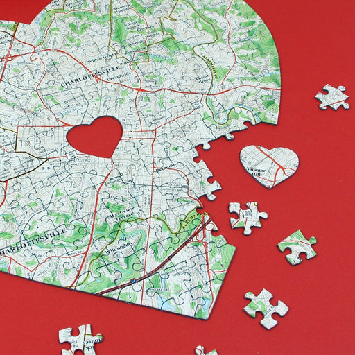 Heart Shaped Personalized Map Jigsaw Puzzle - All Jigsaw Puzzles
