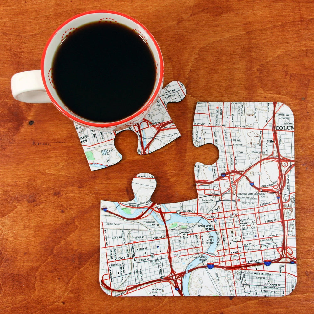 US Map Puzzle Coasters - Personalized on any US Address - All Jigsaw Puzzles