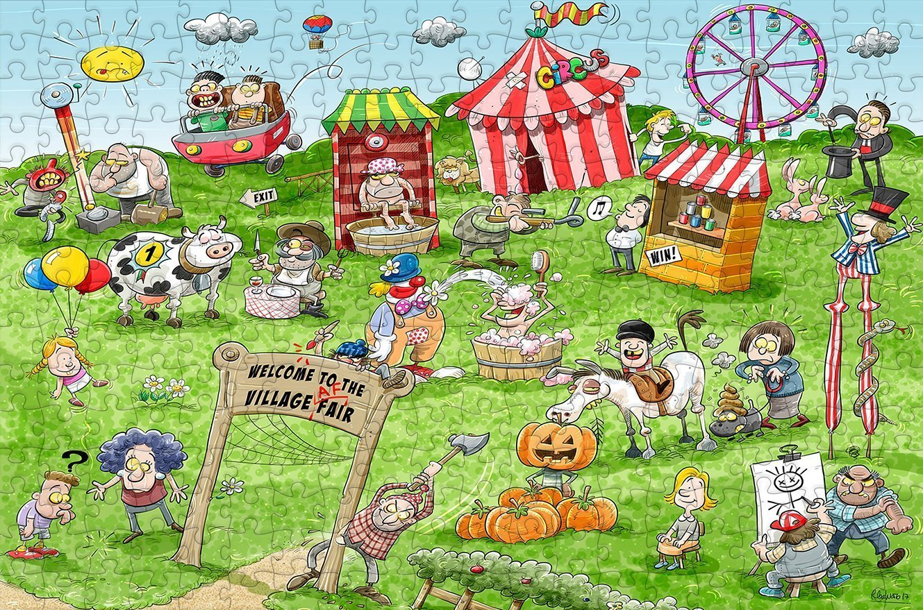 Chaos at the Village Fair 300 Piece Wooden Jigsaw Puzzle - All Jigsaw Puzzles