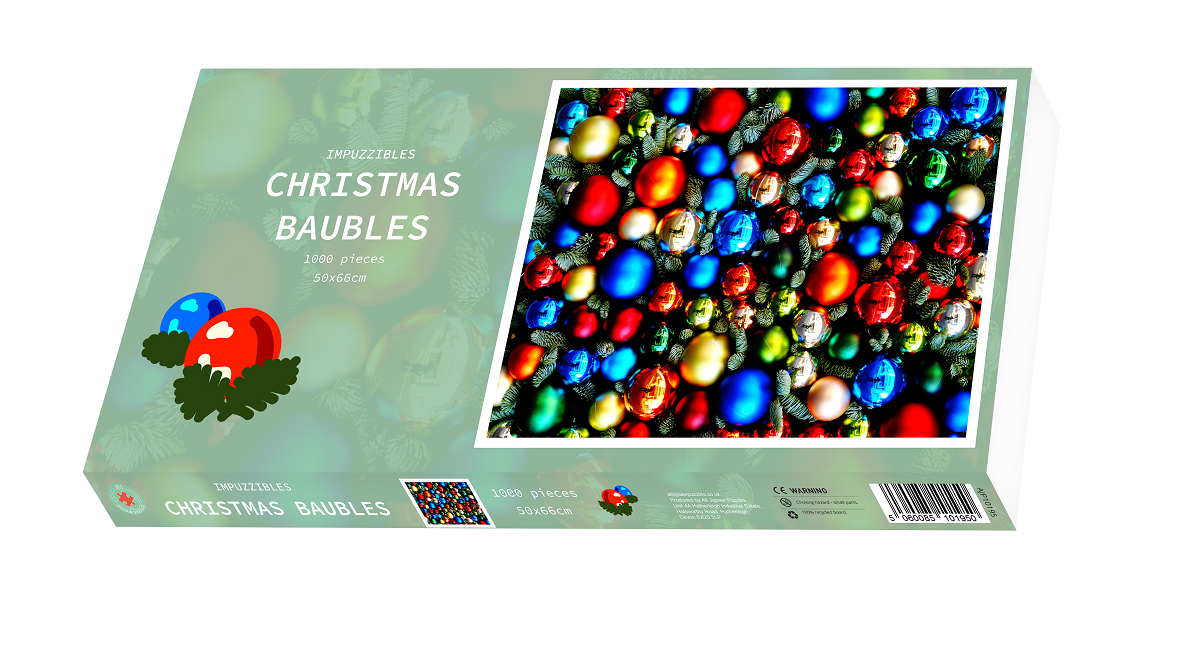 Christmas Baubles - Impuzzible - 1000 Piece Jigsaw Puzzle - All Jigsaw Puzzles
