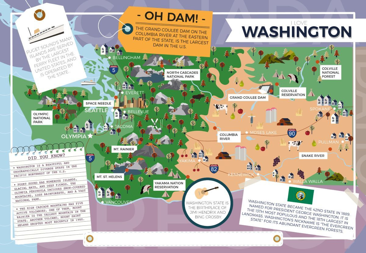 Washington - I Love My State 400 Piece Personalized Jigsaw Puzzle - All Jigsaw Puzzles