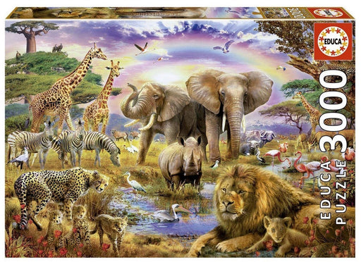 Watering Hole under Rainbow - Educa 3000 Piece Jigsaw Puzzle