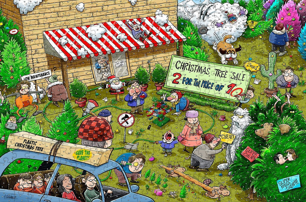 Chaos at Christmas Tree Farm 300 Piece Wooden Jigsaw Puzzle - All Jigsaw Puzzles