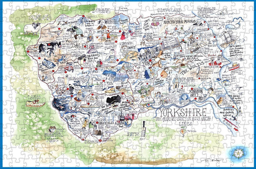 Map of Yorkshire - Tim Bulmer - 300 Piece Wooden Jigsaw Puzzle - All Jigsaw Puzzles