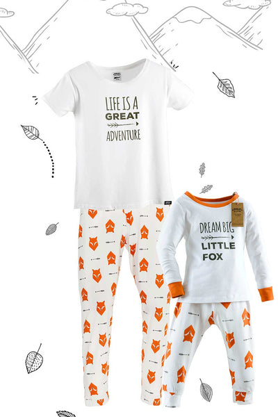 Fox Tales Matching Family Pyjamas Adult with Tee and Child Bundle