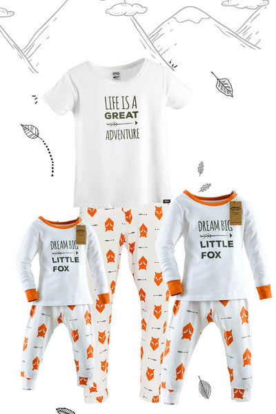 Fox Tales Matching Family Pyjamas One Adult with Tee and Two Children Bundle