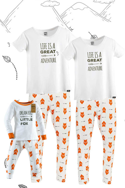 Fox Tales Matching Family Pyjamas Two Adults with Tee and One Child Bundle