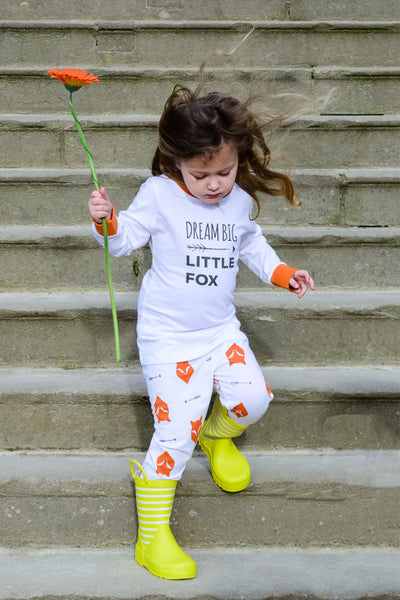 Fox Tales Children's Matching Family Pyjamas, with long sleeve top - Great and small clothing