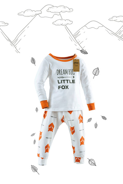 Fox Tales Family of Four Matching Pyjamas with Adult Tee and Vest combination