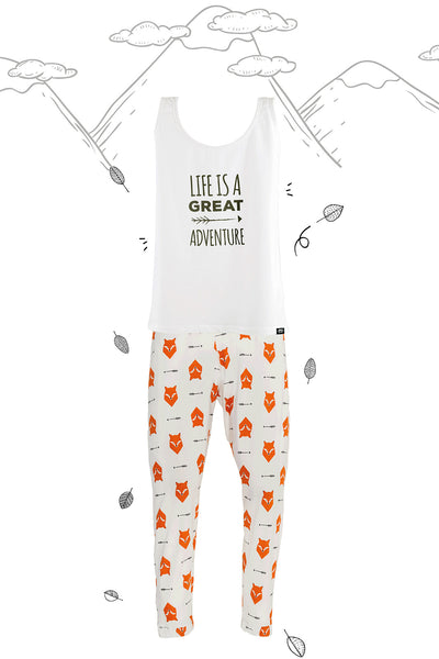Fox Tales Adults Matching Family Pyjamas with Vest - Great and small clothing