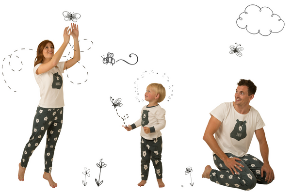 Bear Hugs Matching Family Pyjamas Bundle, MAMA, PAPA and One Bear CUB - Great and small clothing