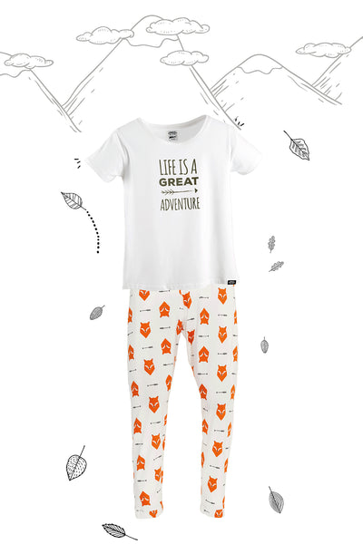 Fox Tales Family of Four Matching Pyjamas with Adult Tee and Vest combination - Great and small clothing