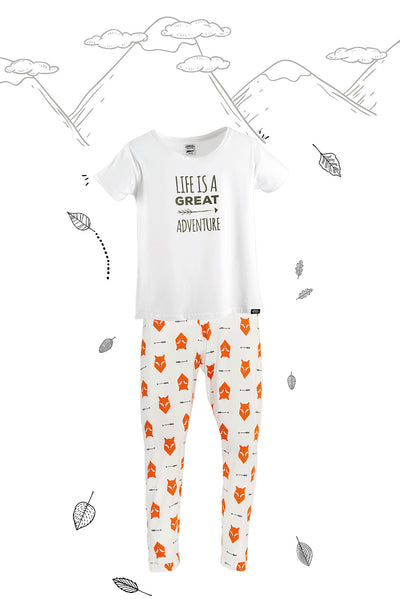 Fox Tales Adults Matching Family Pyjamas with Tee - Great and small clothing