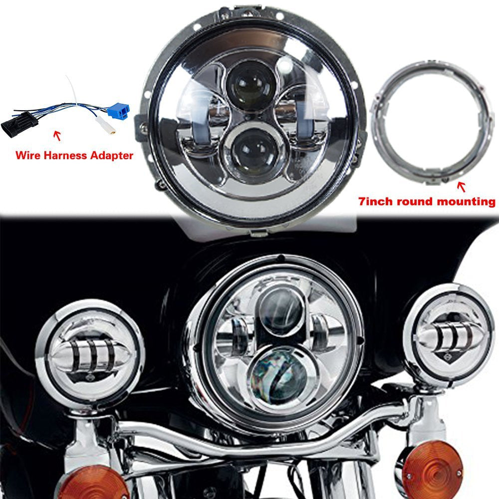 7'' 80W LED Headlight for Harley Davidson with 4.5'' 60W Auxiliary Harley Davidson Headlamp Wire Harness on