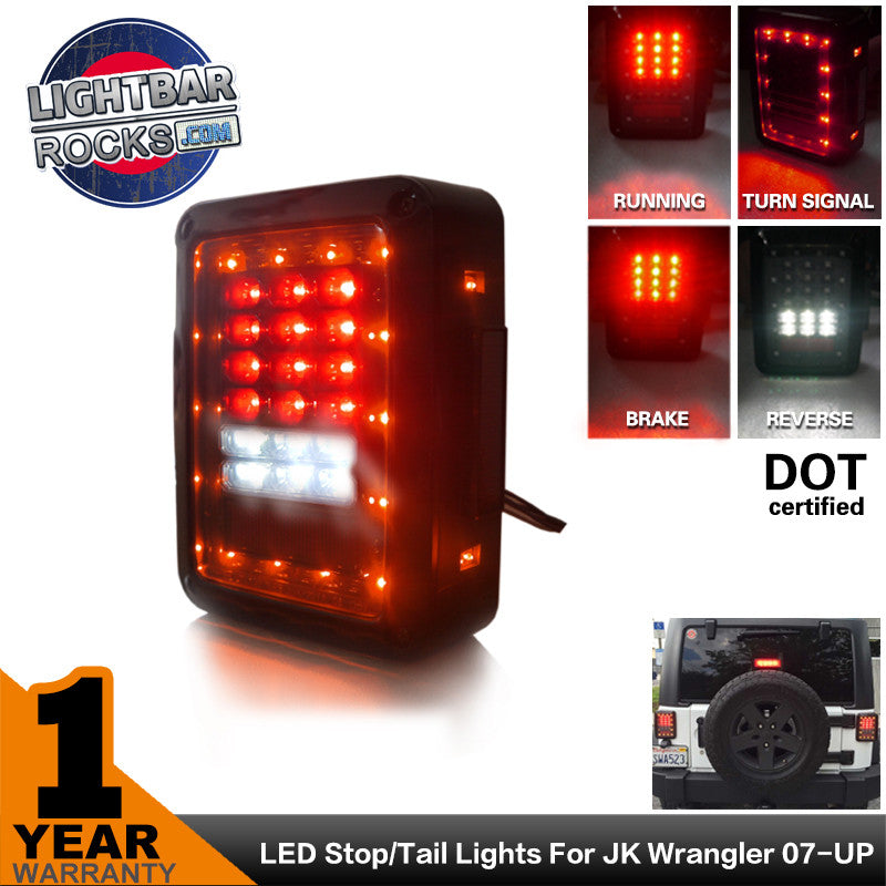 Clear Lens Red LED Tail Light Assembly w/ Turn Signal & Back Up For Jeep  Wrangler JK JKU 2007 - 2016
