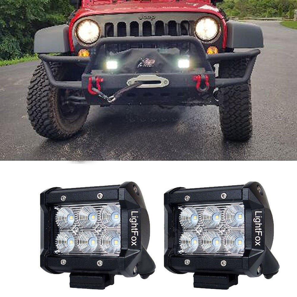 4 18w led light bar spot beam off road lights pack of two 4 18w led light bar spot beam off road lights pack of two mozeypictures Choice Image