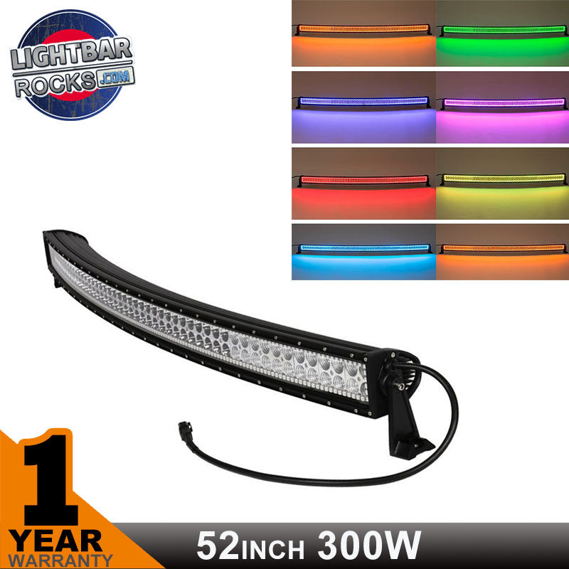 300w 52 inch curved led bar with rgb halo ring light bar rocks 300w 52 inch curved led bar with rgb halo ring mozeypictures Image collections