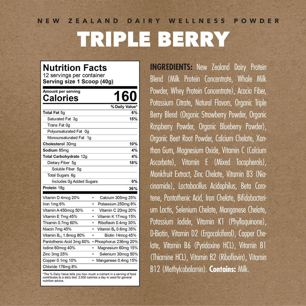 Triple Berry | New Zealand Dairy Wellness Powder (10 Pack Single Serve Box)