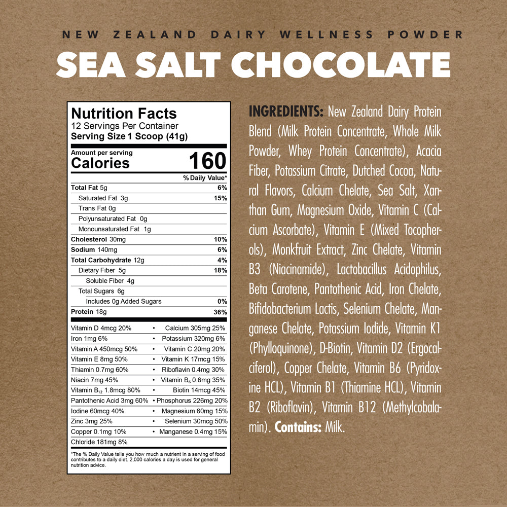 Sea Salt Chocolate | New Zealand Dairy Wellness Powder