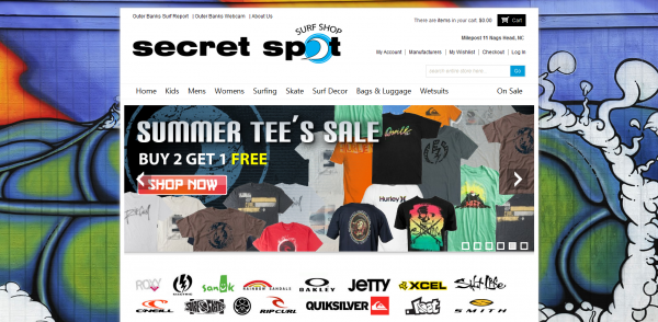 Secret Spot Surf shop ~ New Website
