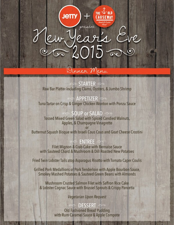 Jetty NYE 2015 Menu