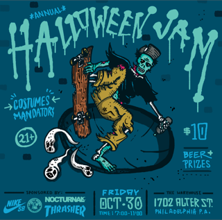 Philly warehouse halloween flyer