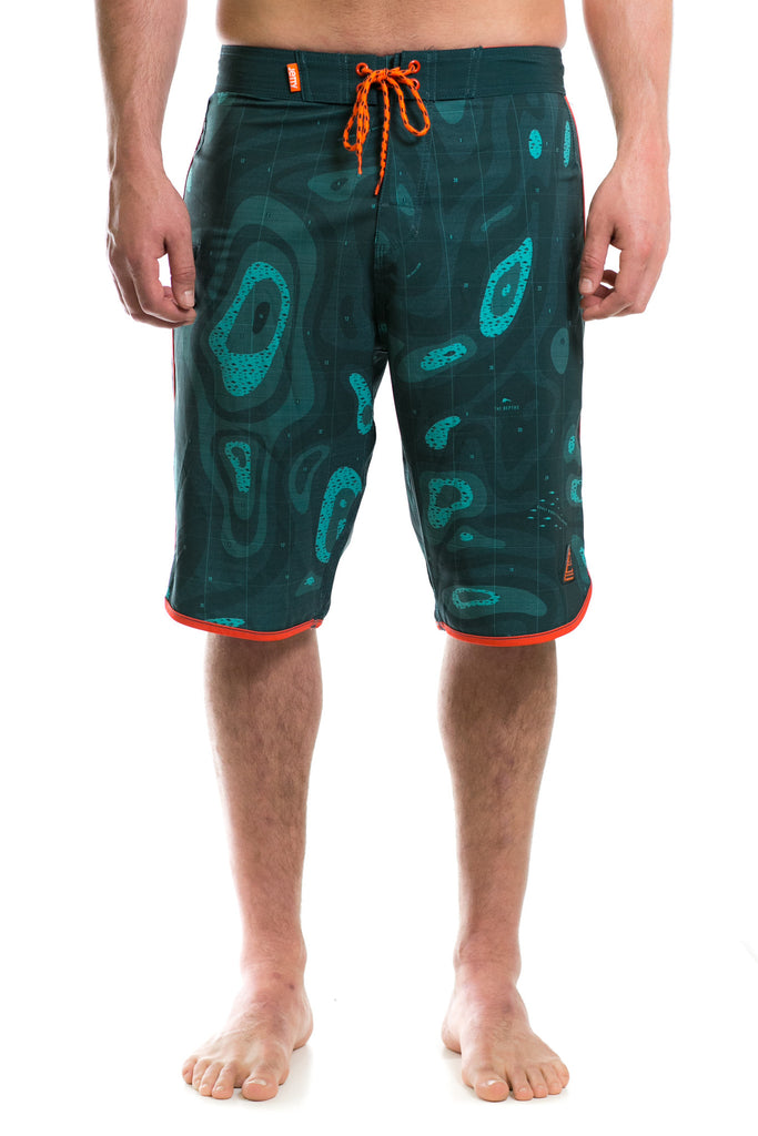 Jetty - Bathymetry Boardshort- Emerald Green