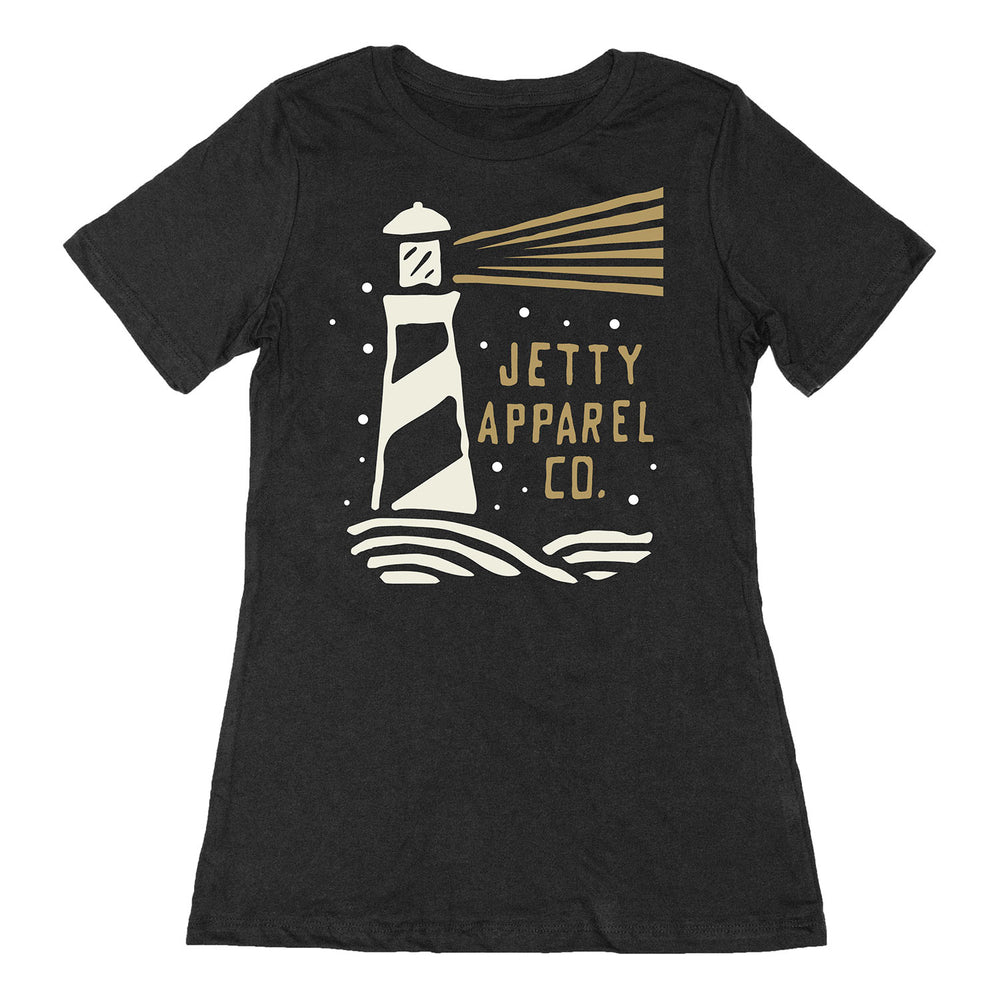 Lighthouse Tee- Black Acid Wash