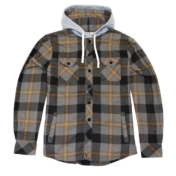 Flint Hooded Flannel- Charcoal
