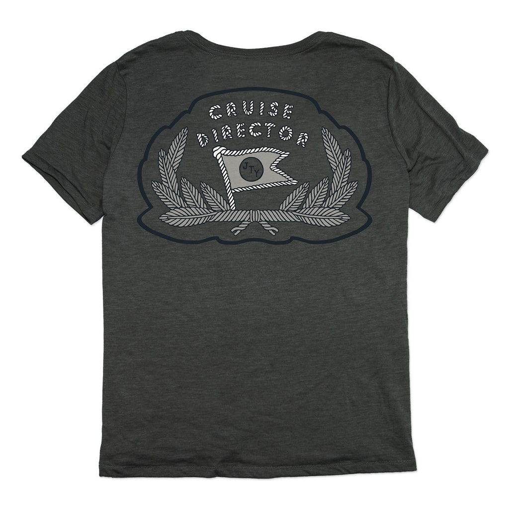 Cruise Director Pocket Tee- Charcoal