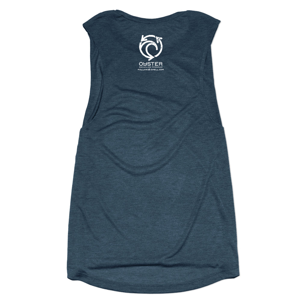 Womens Oyster Recycling Tank- Navy