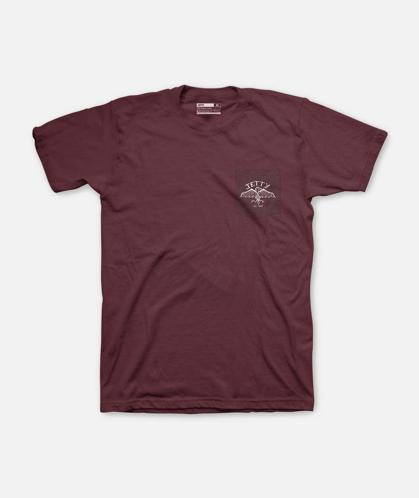 Jetty - EaGull Pocket Tee- Burgundy