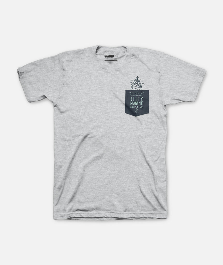 Jetty - SS Victory Pocket Tee - Heather Grey