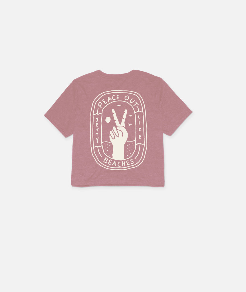 Peace Out Crop Top- Mauve